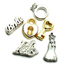 Wedding Ring Dress I Do Lock Key Floating Charm Marriage Set Of 6 Charms