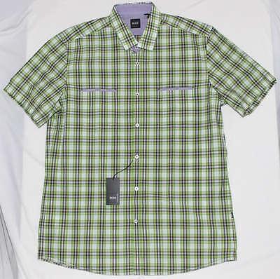 NEW NWT $125 XL HUGO BOSS MEN REGULAR FIT POCKET GREEN PLAIDS SHORT SLEEVE SHIRT