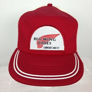 111f02dee Details about Vintage Red Wing Shoes Trucker Hat Cap Red White Mesh Snap  Back 70s 80s Not Worn
