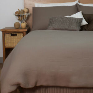 Waffle Mocha Quilt Doona Duvet Cover Set Ardor Luxury Bedding Ebay