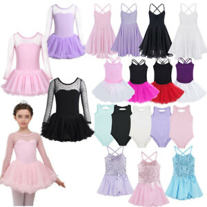 Kids-Girls-Gymnastics-Ballet-Leotard-Dress-Dancewear-Ballerina-Athletic-Costume