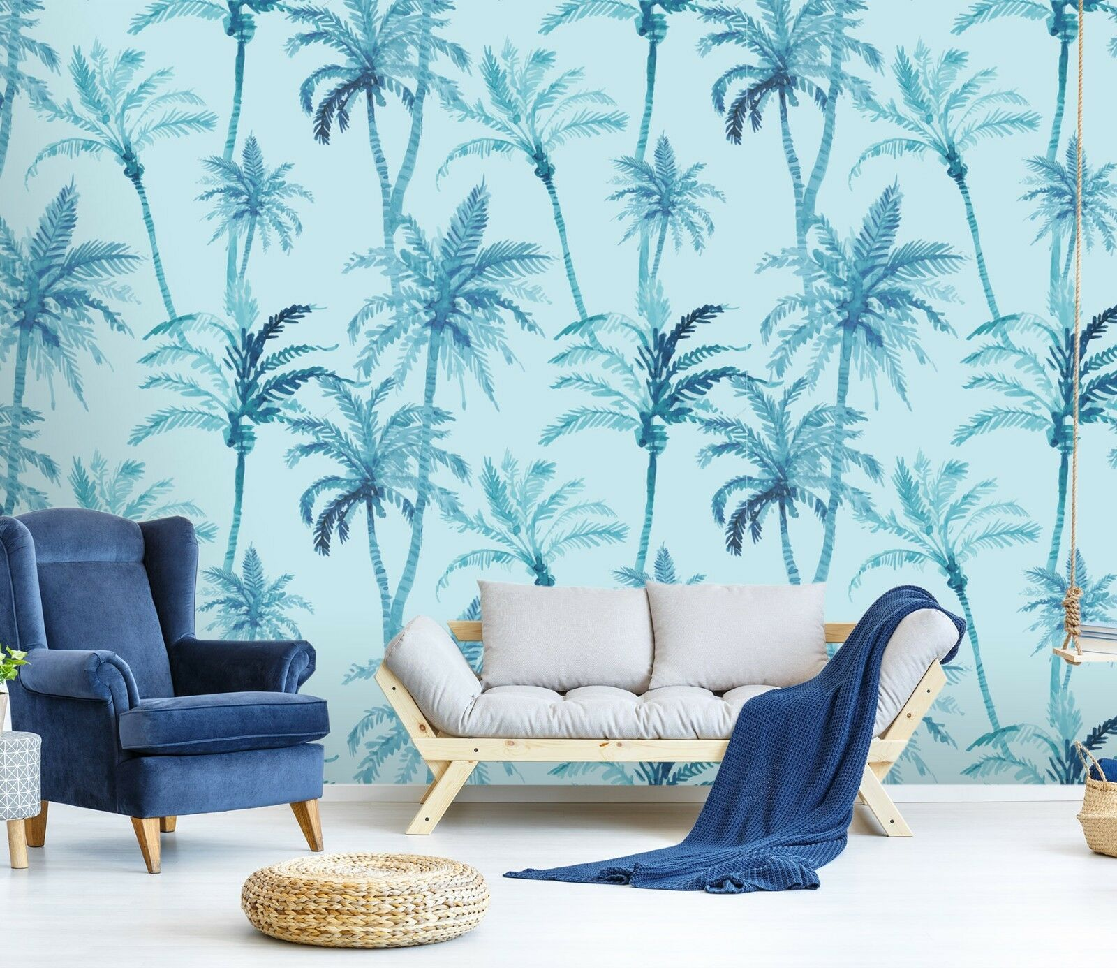 3D Kokosnuss Baum Blau 21 Tapete Wandgemälde Tapete Tapeten Familie Kinde DE