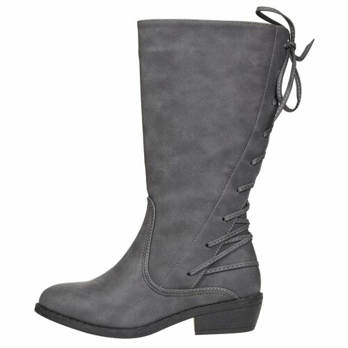 bebe Girls Riding Boots with Lace up Back Accents Casual Dress Fashion Shoes