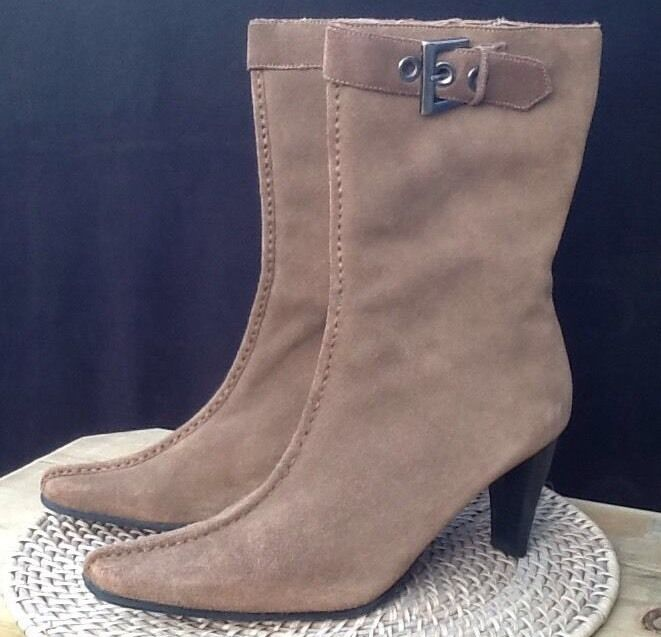 MERONA 10 WOMEN BROWN SUEDE CASUAL WORK STYLISH CRUISE PARTY CONCERT ANKLE BOOT