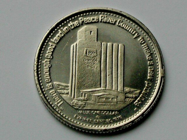 Dawson Creek BC CANADA 1979 Trade DOLLAR Token with Wheat Pool Grain Elevator