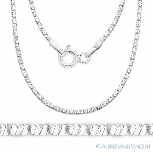 925 Sterling Silver Rhodium-Plated 1mm 4-Sided Snake Link Italian Chain Necklace
