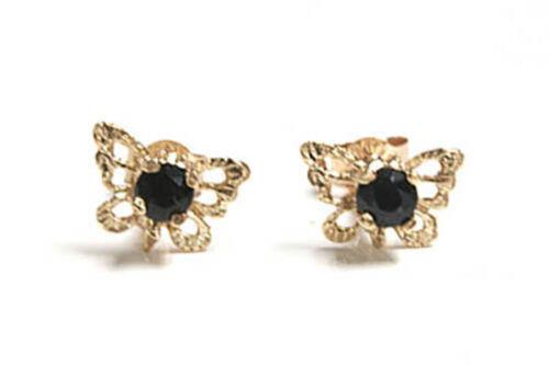 Or 9 ct Saphir Filigrane Papillon Clous D/'oreilles Coffret Cadeau Rivets Made in UK