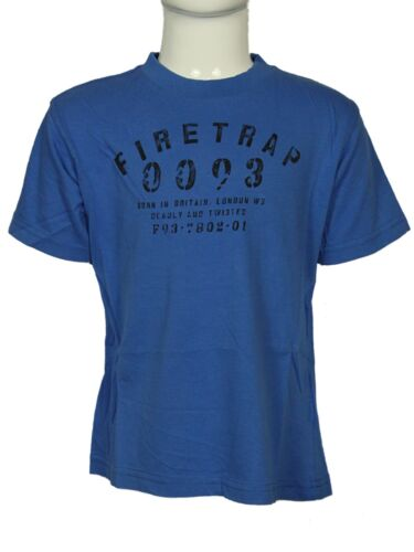 BOYS BRANDED FIRETRAP CREW NECK T-SHIRT BLUE OXIDIZE TB0140 SIZE 3 TO 15 YEARS