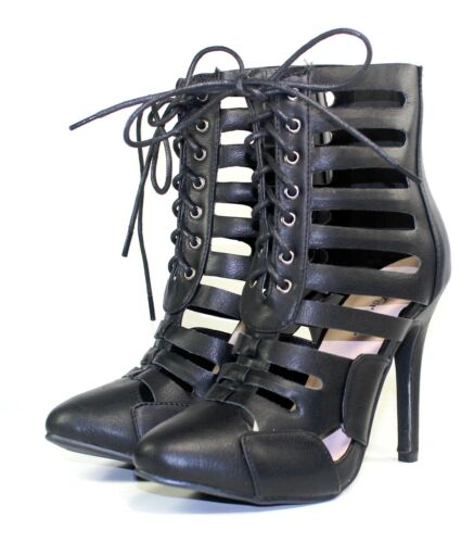 """Tiana-01 New Fashion Party Prom Strappy Sandals 4.5/"""" High Heel Women Shoes Black"""