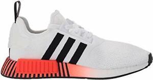 Adidas-Mens-Originals-NMD-R-1-Fabric-Low-Top-White-Black-Solar-Red-Size-9-5-JM