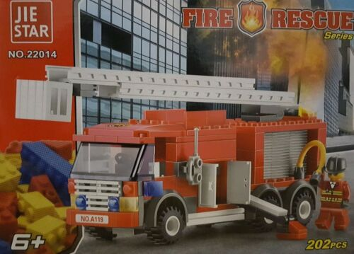 FIRE RESCUE FIRE ENGINE TRUCK GIRLS BOYS TOYS BUILDING BLOCKS 202 PIECES