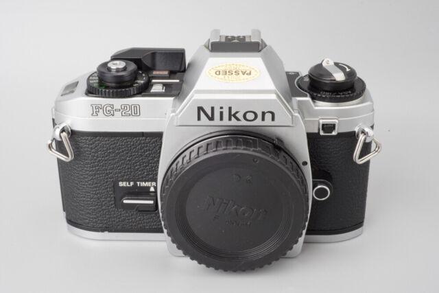 Nikon FG-20 35mm SLR Film Camera Body Only, Chrome, Silver, FG20