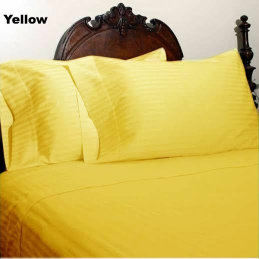 Bed Sheet Set giallo Stripe RV Camper & BUNK Bed All Dimensiones 1000 Thread Count