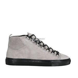 separation shoes 61509 ee57d Image is loading BALENCIAGA-ARENA-SUEDE-HIGH-TOP-SNEAKERS-GRAY