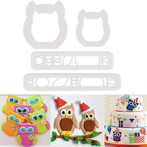 4Pcs Owl Styles Cake Cookies Cutter Fondant Biscuit Sugarcraft Decor Mould Set