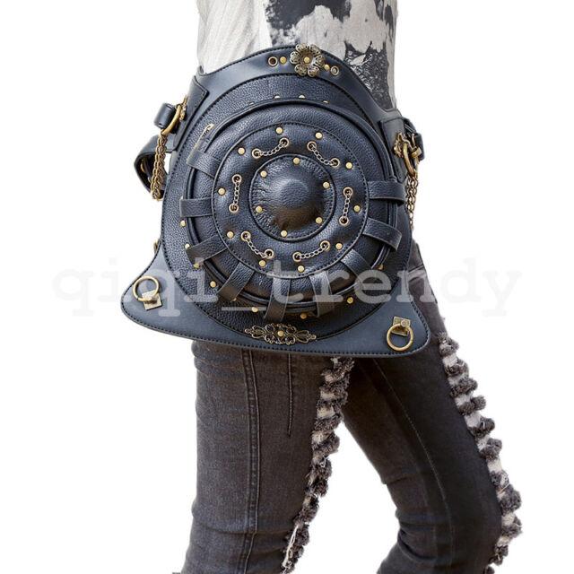 Round Steampunk Belt Bag Waist Leg Hip Holster Purse Pouch Packs Motorcycle