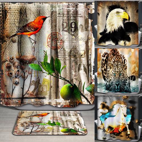 Animal Print Shower Curtain Resistant Mildewproof Bathroom Fashion Hotel Decor
