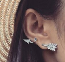1 x Arrow Crystal Ear Cuff Stud Earrings Climber Ear Rings Silver Colour ECF15