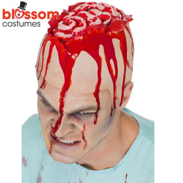 AC241 Open Brain Latex Head Cap Bleeding Horror Scary Halloween Costume Zombie