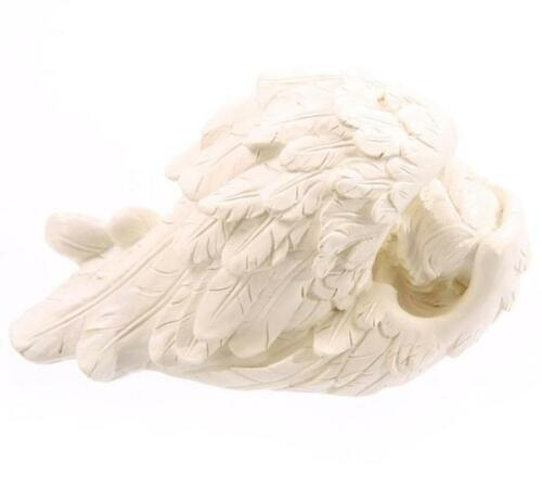 NEW SLEEPING ANGEL CHERUB IN WING FEATHER ORNAMENT WHITE LARGE LEFT RB22 A