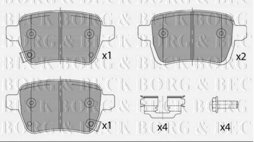 BBP2460 BORG /& BECK REAR BRAKE PADS fits Fiat 500 1.4 Abarth 01//14 Rear Axle