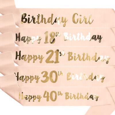 Birthday Sashes 16 18 21 25 30 35 40 45 50 55 60 65 70 75 80 85 90 95 100