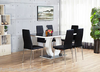 GIOVANI Black/White High Gloss Glass Dining Table Set & 6 Leather Chairs Seats