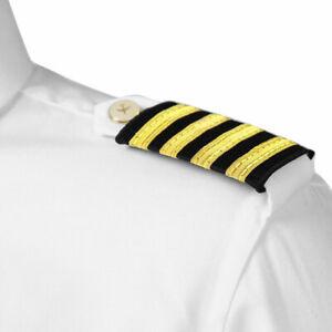 Four-Bar-Airline-Pilot-Uniform-Epaulets-Captain-Stripe-Shoulder-Board-Costume