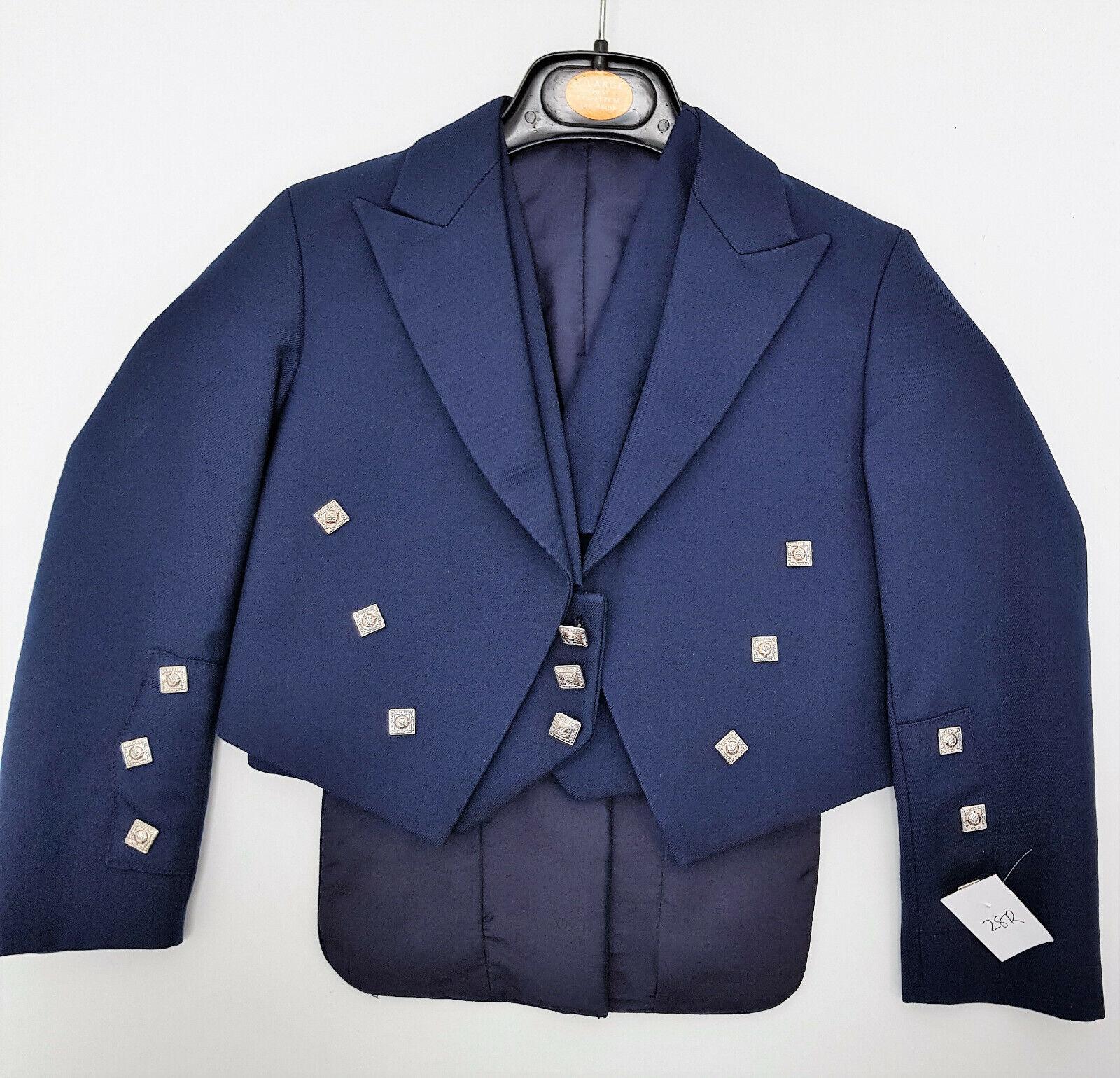 Kids Ex Hire Navy Prince Charlie Jacket & Vest Scottish Made A1 condition