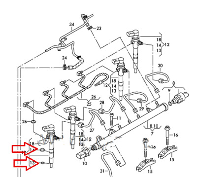 Bosch Common Rail Sello De Inyector Anillos Tórica Audi Vw Skoda Seat 1 6tdi Ebay