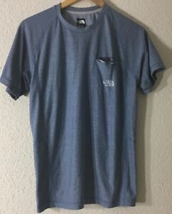 The-North-Face-Men-039-s-Pocket-FlashDry-Crew-Neck-Athletic-Blue-T-Shirt-Sz-S-P-NWOT