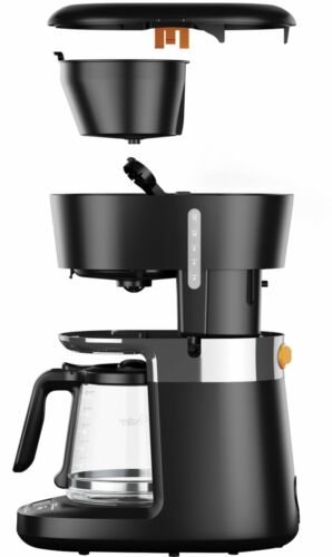 Coffee Mr 12-Cup Coffee Maker with Dishwashable Design Black//Chrome