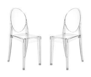 Dettagli su 2 X Kartell Victoria Ghost - Sedia Trasparente - design  Philippe Starck