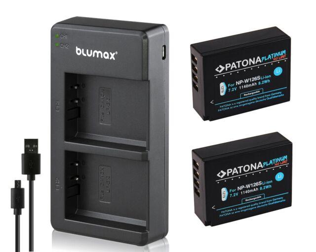 Doppel-DUAL Ladegerät für FUJI Fujifilm NP-W126s NP-W126 2 x AKKU Battery Pack
