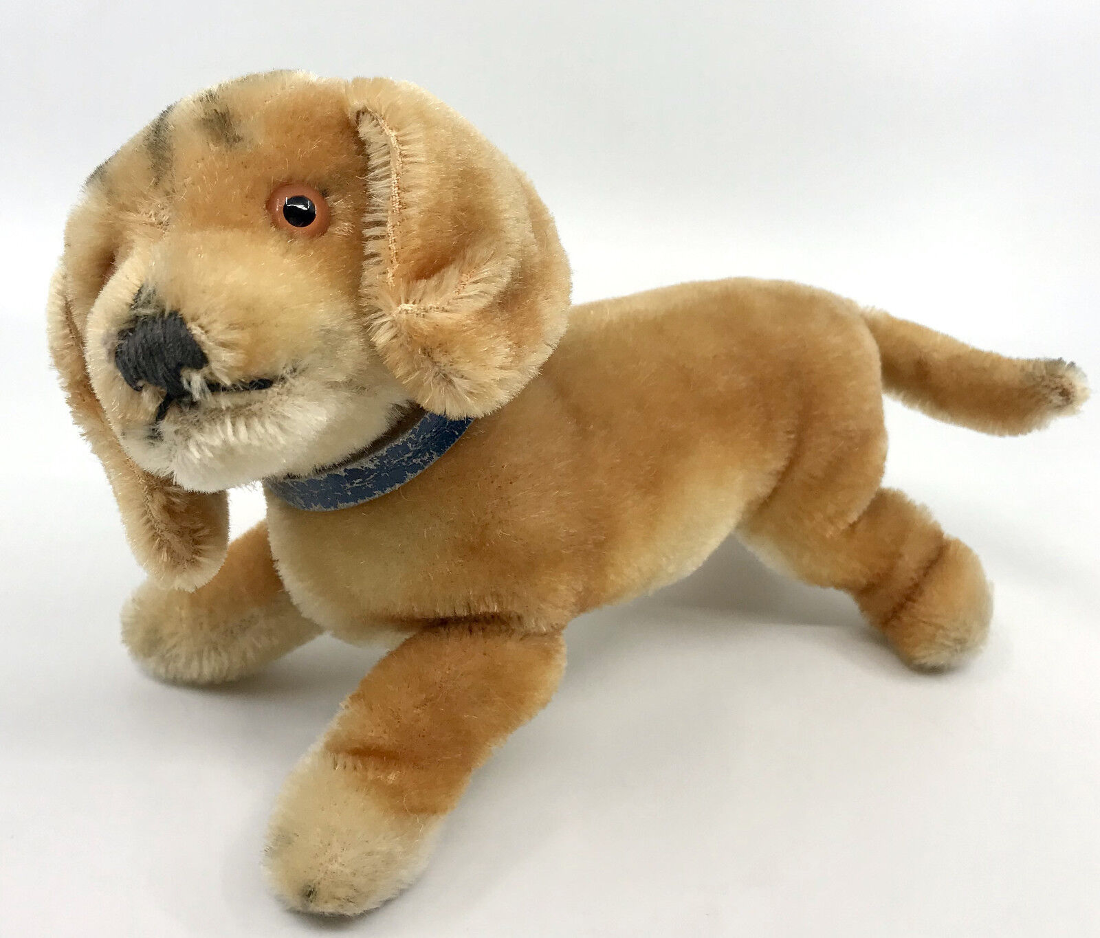 Steiff Bazi Dachshund Dog Mohair Plush 14cm 5.5in no ID 1960s Pelle Collar Vtg