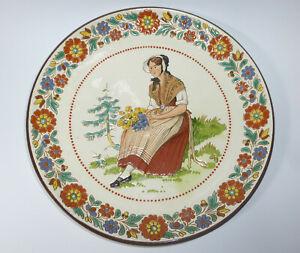 Seltener-Assiette-Murale-Um-1900-Langnauer-Ceramique-Suisse-Canton-de-Bern-B-669