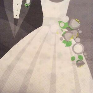 paper napkins decoupage x 2 wedding hearts 21cm