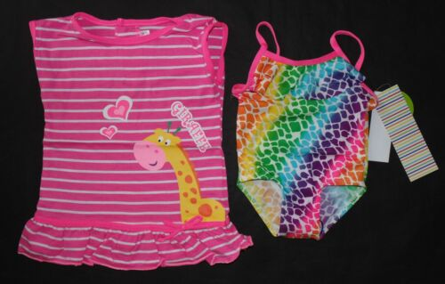 Wippette Baby Girls Size 12M or 24M 2-Pc Giraffe Swimsuit Coverup Set Pink Glo