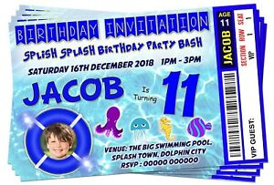 Image Is Loading BIRTHDAY PARTY INVITATIONS Boys Swimming Pool Theme Picture