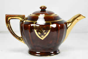 VTG-Genuine-Fraunfelter-Thermo-Proof-Ware-Stoneware-Tea-Pot-Gloss-Brown-and-Gold
