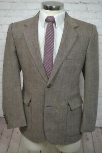 Vintage-Mens-Brown-HERRINGBONE-TWEED-Wool-Blend-Blazer-Sport-Coat-Jacket-40S