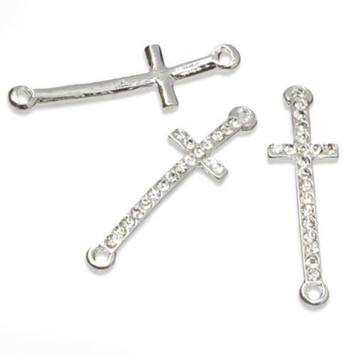 Crystal Rhinestone Cross Curved Connector Charms Jewellery  Findings 9.5x31mm