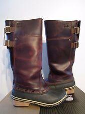 Womens Sorel Slimpack Leather Riding Tall Fashion Waterproof Boots - British Tan