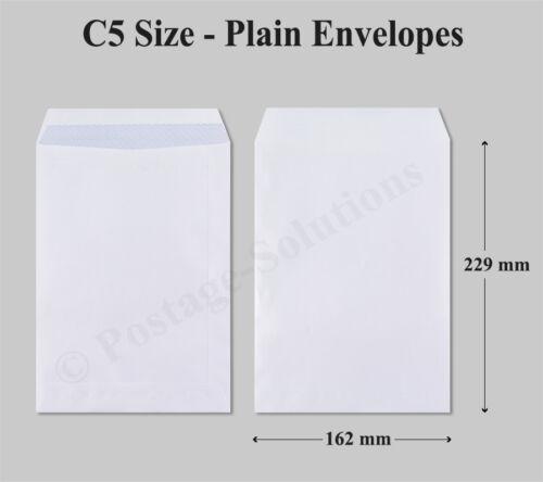1500 x C5 Size White Envelopes Plain Self Seal 90gsm Good Quality Cheap