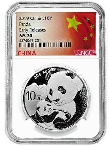 2019-China-10-Yuan-Silver-Panda-NGC-MS70-Early-Releases-Flag-Label