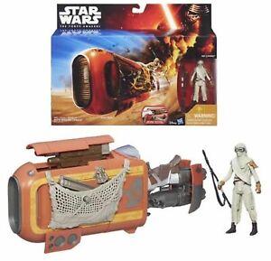 Star-Wars-The-Force-Awakens-Rey-Speeder-amp-Rey-Jakku-Action-Figure-NEW