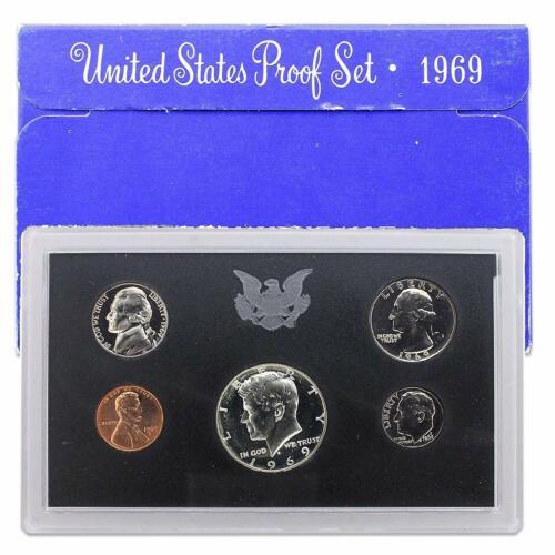 1969-S United States Proof Set U S 40/% Silver Kennedy Half Dollar Box Mirror