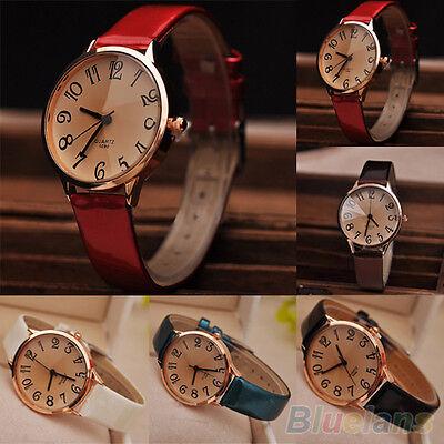 Women Fashion Faux Leather Strap Big Digit Style Analog Quartz Dress Wrist Watch