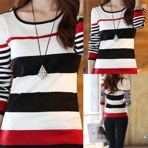 Women-Blouse-Fashion-T-shirts-Shirt-Tops-Tees-Long-Sleeve-Slim-Striped-Pullover