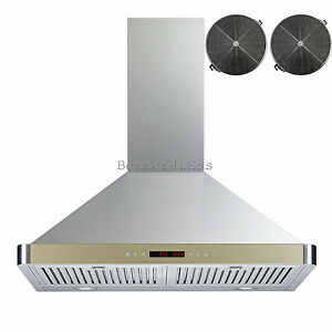 034 stainless steel wall mount range hood kitchen combo carbon filters